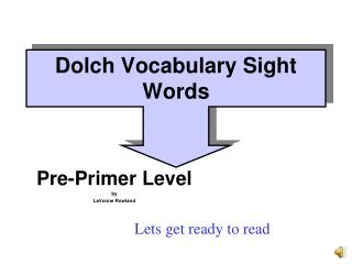 Dolch Vocabulary Sight Words