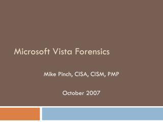Microsoft Vista Forensics