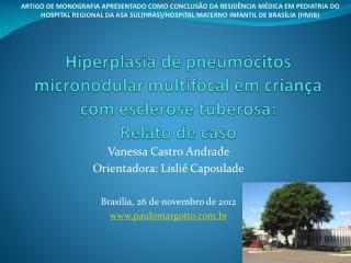 Vanessa Castro Andrade Orientadora: Lisliê Capoulade Brasília, 26 de novembro de 2012