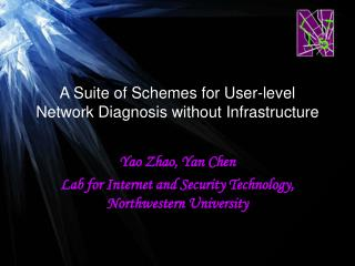 A Suite of Schemes for User-level Network Diagnosis without Infrastructure