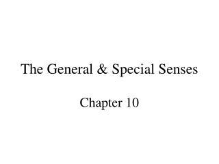 The General & Special Senses
