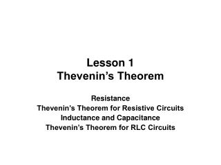 Lesson 1 Thevenin�s Theorem