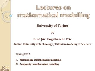 Lectures on  mathematical  modelling