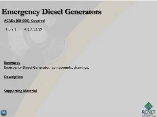 ACADs (08-006)  Covered Keywords Emergency Diesel Generator,  components , drawings. Description