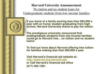 harvard university announcement 051910