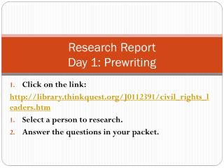 Research Report Day 1: Prewriting