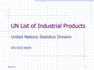 UN List of Industrial Products