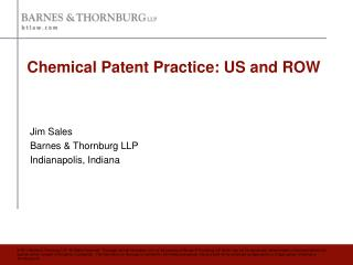 Chemical Patent Practice: US and ROW