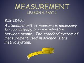Measurement Lesson 4, Part 1