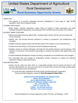 United States Department of Agriculture Rural Development Rural Business Opportunity Grants