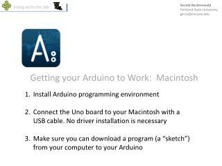 Getting your Arduino to Work:  Macintosh
