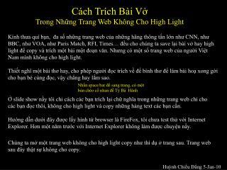 Cách Trích Bài Vở  Trong Những Trang Web Không Cho High Light
