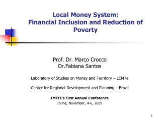 Local Money System: Financial Inclusion and Reduction of Poverty