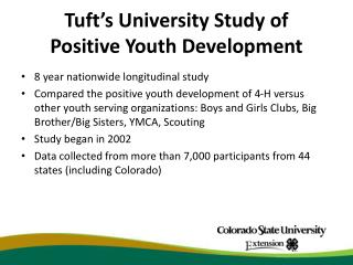 Tuft�s University Study of  Positive Youth Development