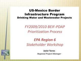 US-Mexico Border  Infrastructure Program Drinking Water and Wastewater Projects