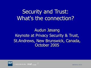 Security and Trust: What's the connection?