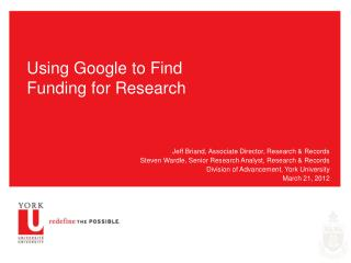Using Google to Find Funding for Research