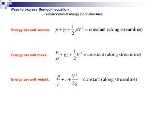 Ways to express Bernoulli equation
