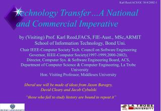 Technology Transfer…A National and Commercial Imperative