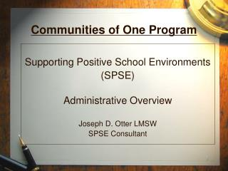 Communities of One Program