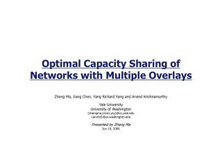 Optimal Capacity Sharing of Networks with Multiple Overlays