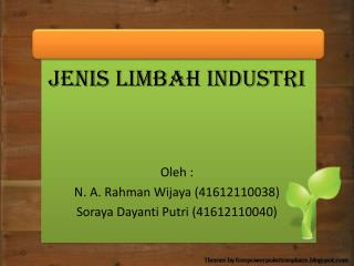 Jenis Limbah Industri Oleh  : N. A.  Rahman Wijaya  (41612110038)