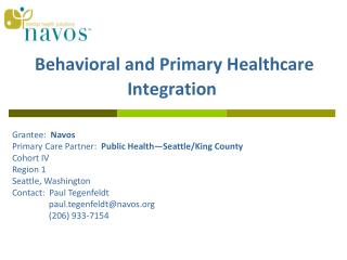Behavioral and Primary Healthcare Integration