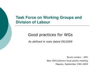 Task Force on Working Groups and Division of Labour