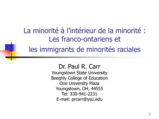 Dr. Paul R. Carr Youngstown State University Beeghly College of Education One University Plaza