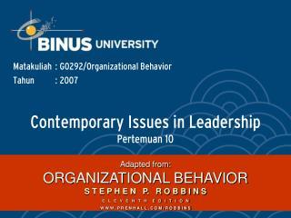 Contemporary Issues in Leadership  Pertemuan 10