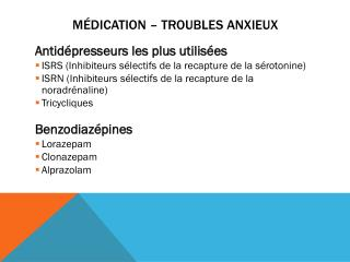 Médication – Troubles anxieux