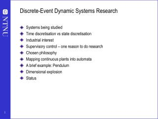 Discrete-Event Dynamic Systems Research