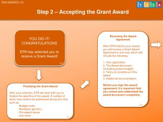 Step 2 – Accepting the Grant Award