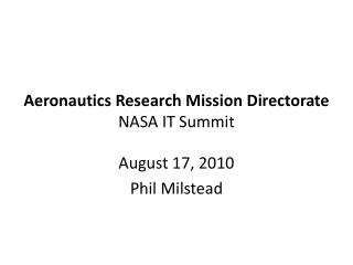 Aeronautics Research Mission Directorate NASA IT Summit