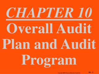 CHAPTER 10 Overall Audit Plan and Audit Program