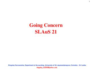 Going Concern  SLAuS 21