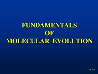 FUNDAMENTALS   OF   MOLECULAR  EVOLUTION