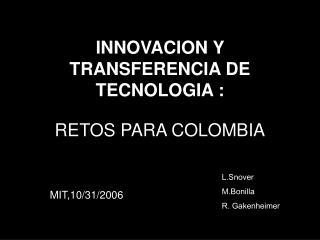 INNOVACION Y TRANSFERENCIA DE TECNOLOGIA :