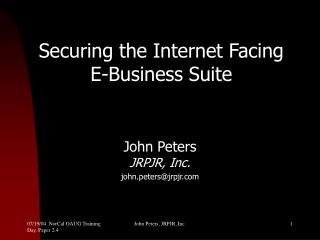 Securing the Internet Facing  E-Business Suite