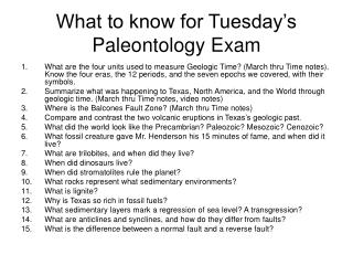 What to know for Tuesday's  Paleontology Exam