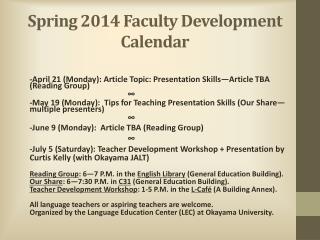 Spring 2014 Faculty Development Calendar