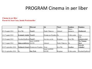 PROGRAM Cinema in  aer  liber