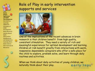 Role of Play in early intervention supports and services