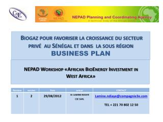 NEPAD  Workshop «African  BioEnergy  Investment  in  West Africa»