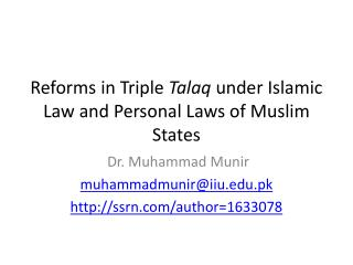 Reforms in Triple  Talaq  under Islamic Law and Personal Laws of Muslim States