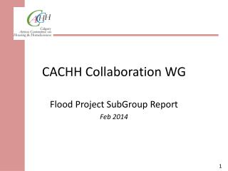 CACHH Collaboration WG
