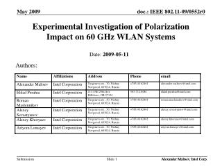 Experimental Investigation of Polarization Impact on 60 GHz WLAN Systems