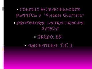COLEGIO DE BACHILLERES PLANTEL 6  �Vicente Guerrero� PROFESORA: LAURA ORDU�A GARCIA  GRUPO:  231
