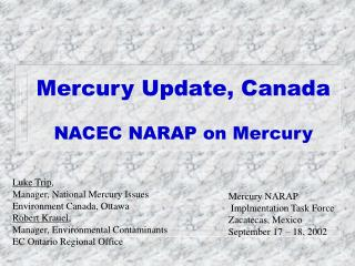 Mercury Update, Canada NACEC NARAP on Mercury