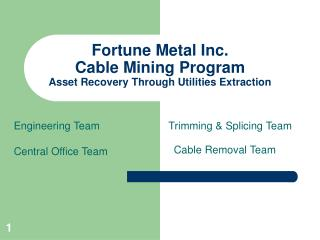 Fortune Metal Inc. Cable Mining Program Asset Recovery Through Utilities Extraction